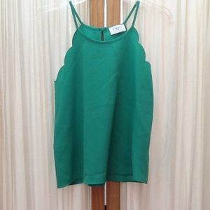 Everly Green Tank Top Peephole Blouse Size Small